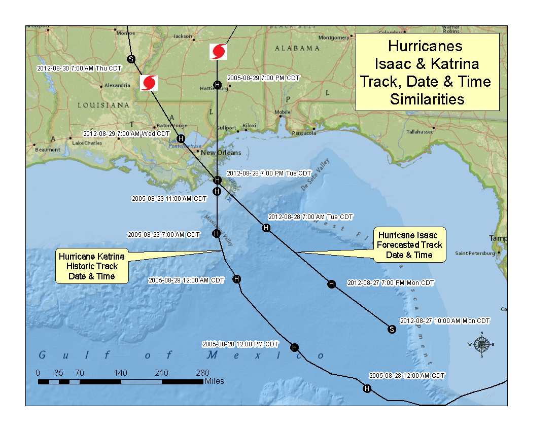 Hurricane Isaac and Katrina track comparison