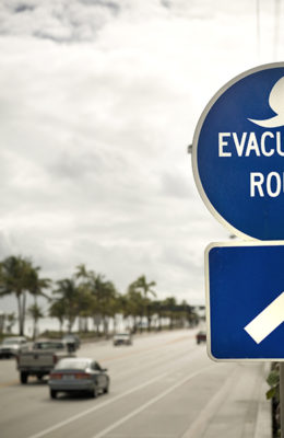 Evacuation Route sign along road in Florida
