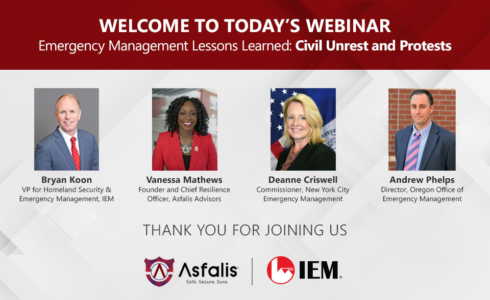IEM Webinar – Emergency Management Lessons Learned: Civil Unrest and Protests