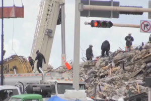 What happens to the debris when it is removed from the rubble pile?